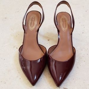 Elie Tahari burgundy patent leather slingback pump